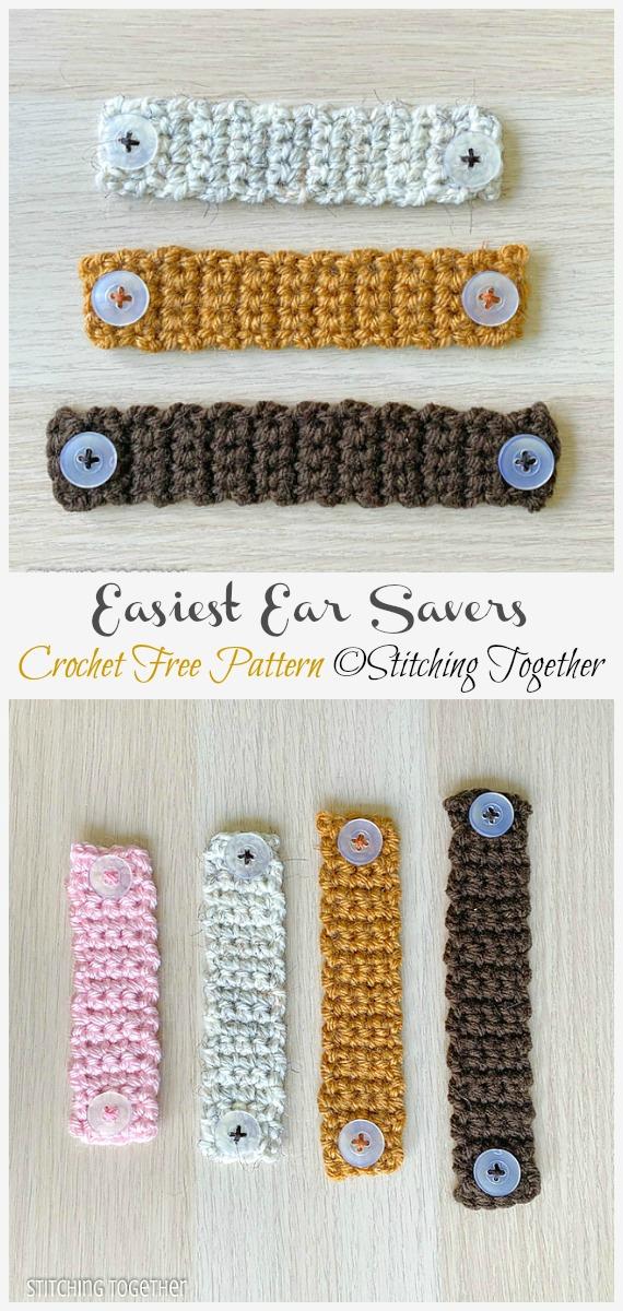 Crochet Easiest Ear Savers Free Pattern - Face #Mask; Straps Ear Saver #Crochet; Free Patterns