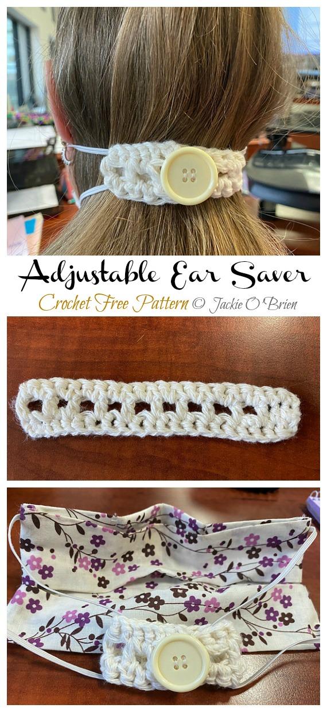 Crochet Adjustable Ear Saver Free Pattern - Face #Mask; Straps Ear Saver #Crochet; Free Patterns