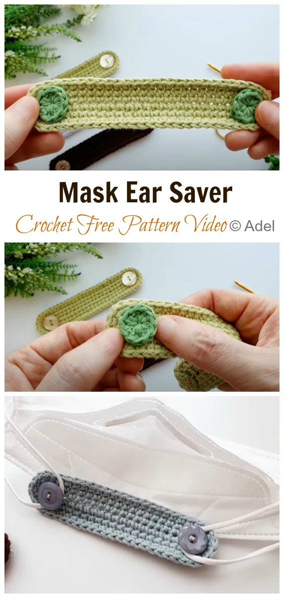 Crochet Mask Ear Saver Free Pattern Video - Face #Mask; Straps Ear Saver #Crochet; Free Patterns