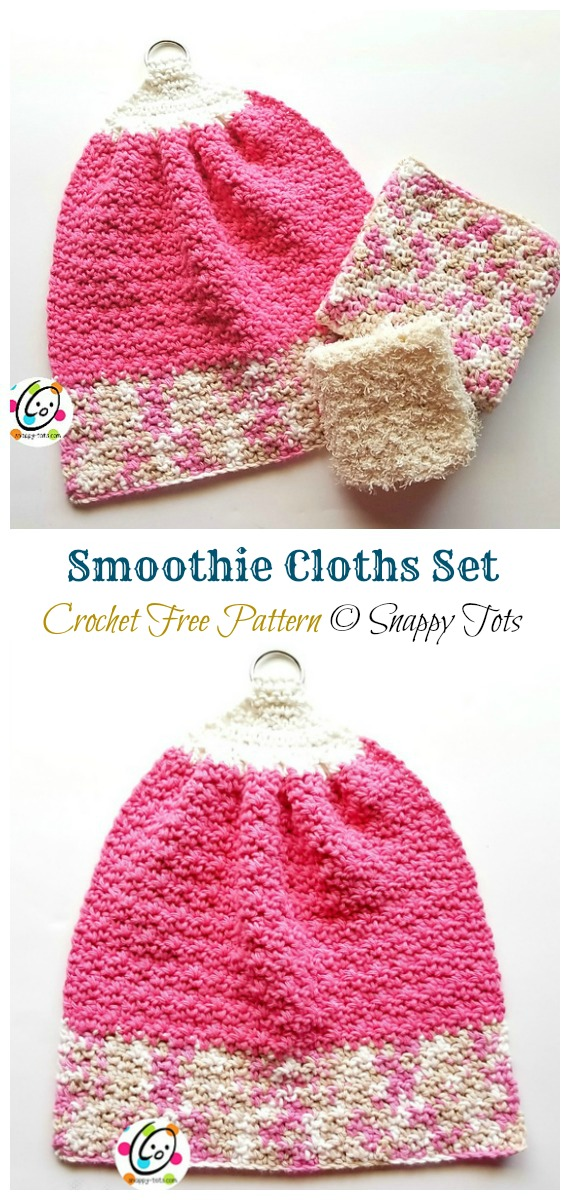 Smoothie Cloths Set Crochet Free Pattern - Modern #DishCloth; Free #Crochet; Patterns