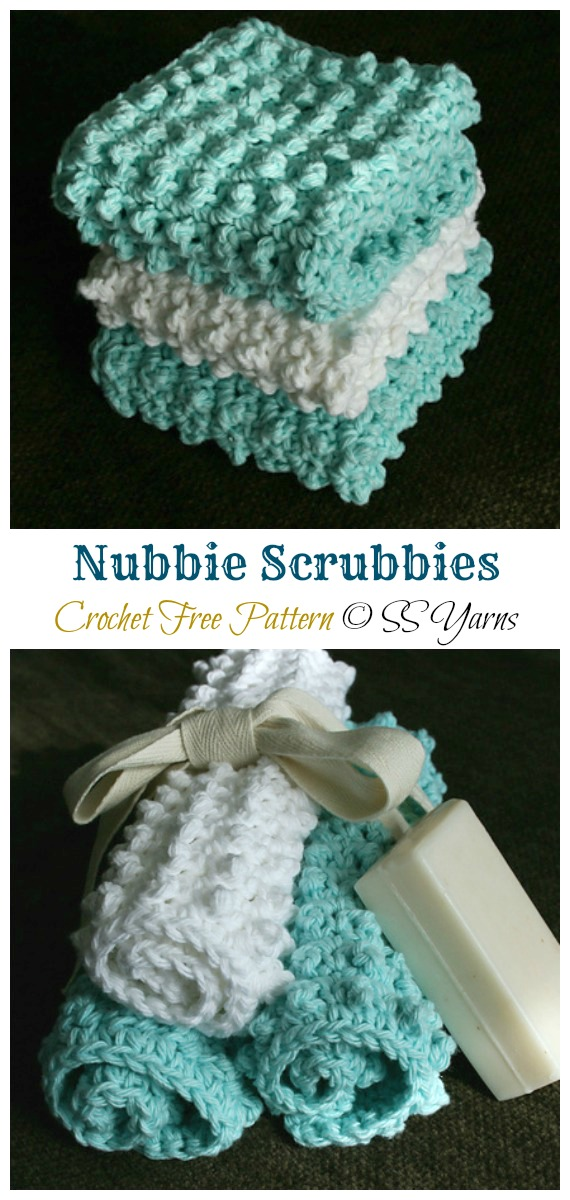 Nubbie Scrubbies Crochet Free Pattern - Modern #DishCloth; Free #Crochet; Patterns