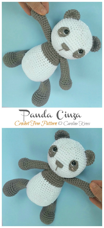 Crochet Panda Cinza Amigurumi Free Patterns- Amigurumi #Panda; Free #Crochet; Patterns