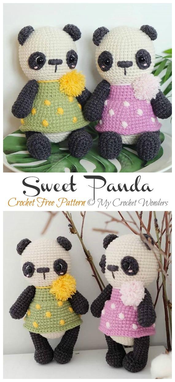 Crochet Sweet Panda Amigurumi Free Patterns- Amigurumi #Panda; Free #Crochet; Patterns