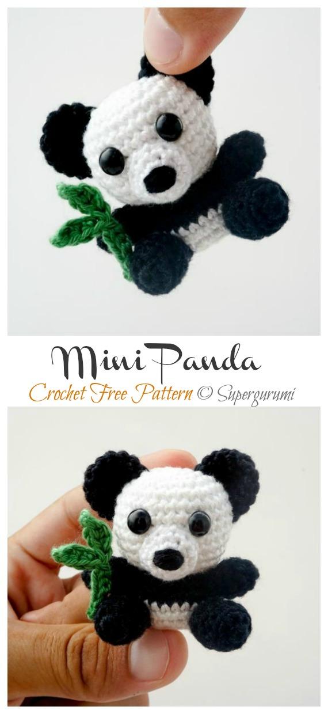 Mini Panda Amigurumi Free Patterns- Amigurumi #Panda; Free #Crochet; Patterns