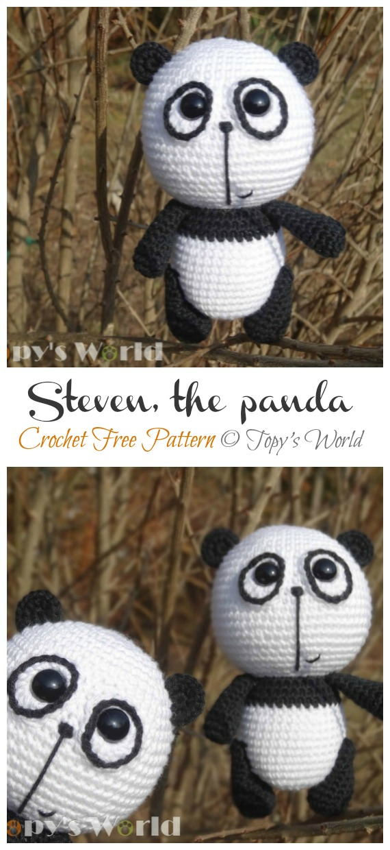 Crochet Steven the Panda Amigurumi Free Patterns- Amigurumi #Panda; Free #Crochet; Patterns