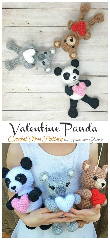 Crochet Valentine Panda Amigurumi Free Patterns- Amigurumi #Panda; Free #Crochet; Patterns