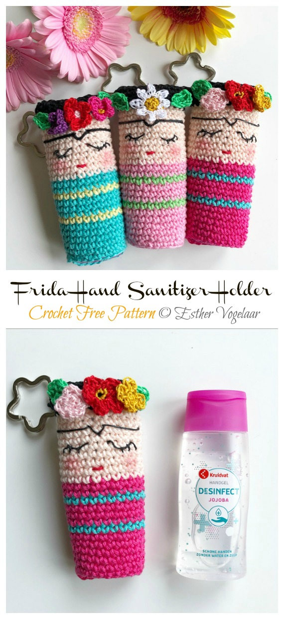 Mini Frida Hand Sanitizer Holder Free Crochet Pattern - #Frida; #Crochet; Free Patterns