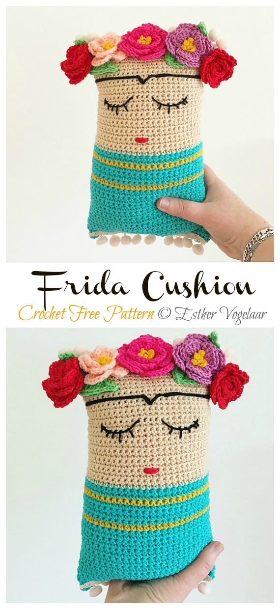 Frida Cushion Free Crochet Pattern - #Frida; #Crochet; Free Patterns