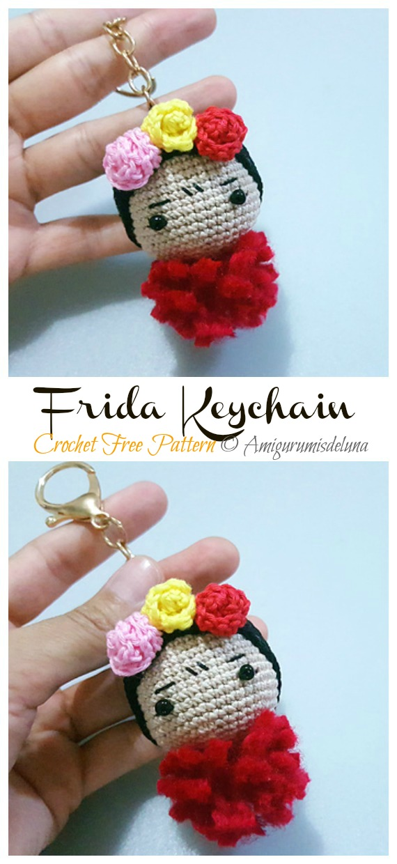 Frida Keychain Free Crochet Pattern - #Frida; #Crochet; Free Patterns