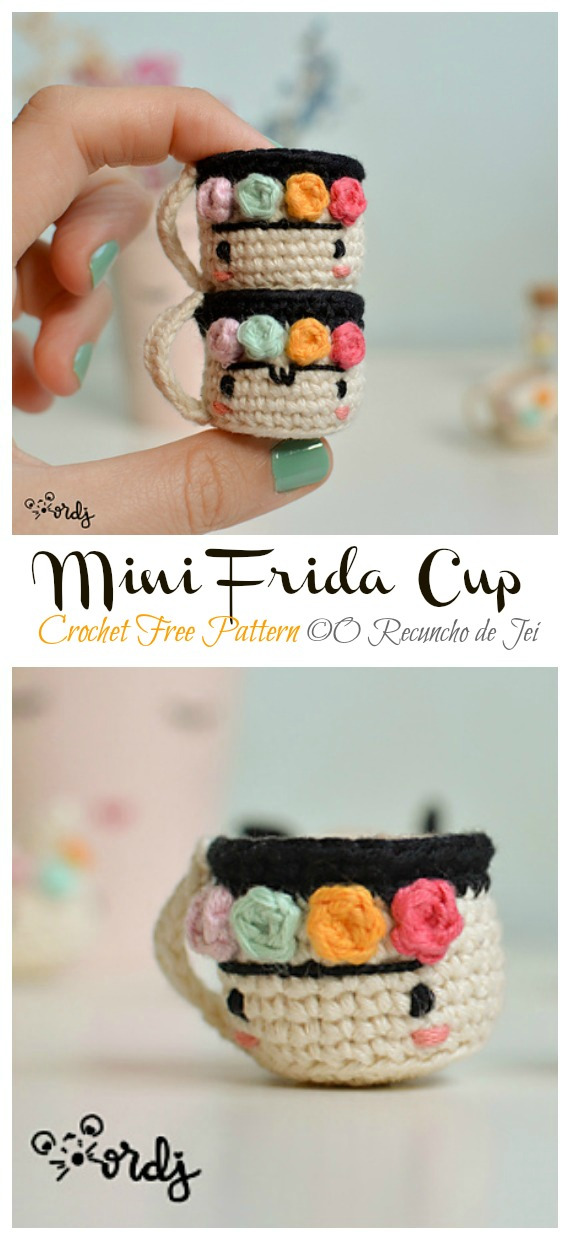 Mini Frida Cup Free Crochet Pattern - #Frida; #Crochet; Free Patterns