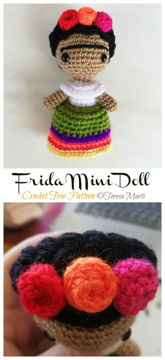 Frida Kahlo Mini Doll Free Crochet Pattern - #Frida; #Crochet; Free Patterns