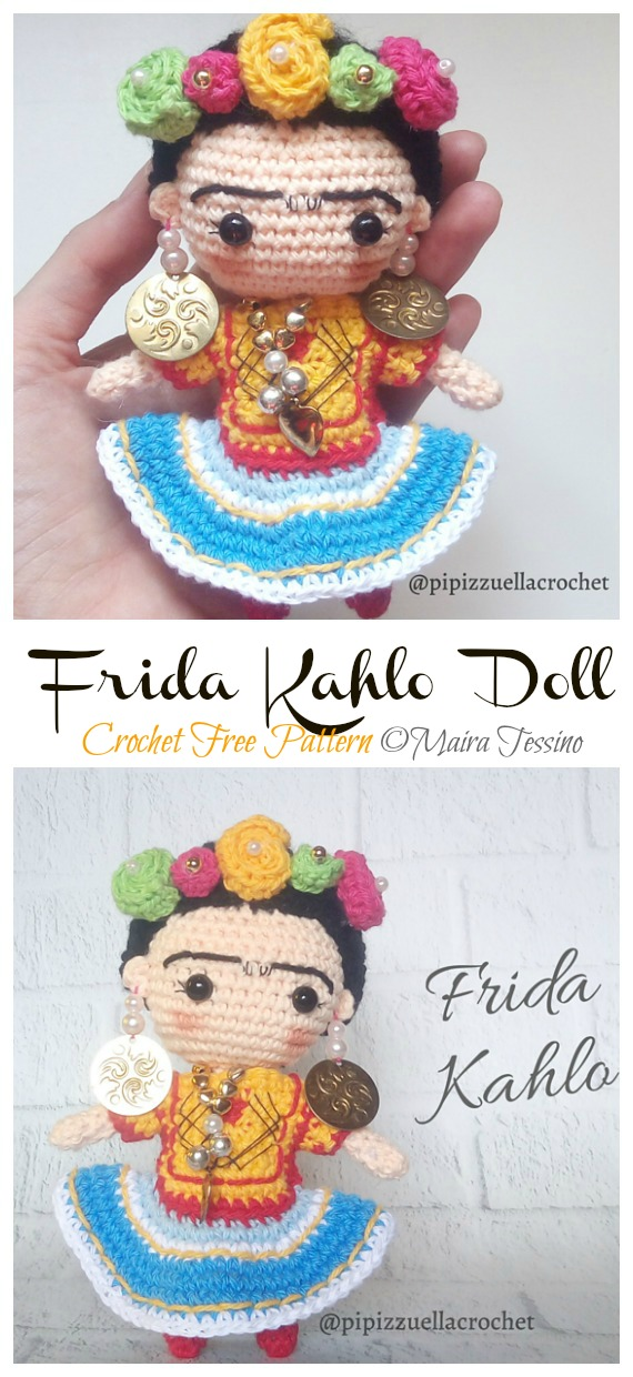 Frida Kahlo Amigurumi Free Crochet Pattern - #Frida; #Crochet; Free Patterns