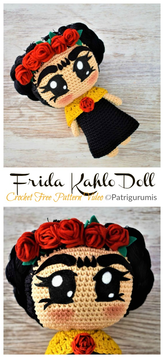 Frida Kahlo Doll Free Crochet Pattern - #Frida; #Crochet; Free Patterns