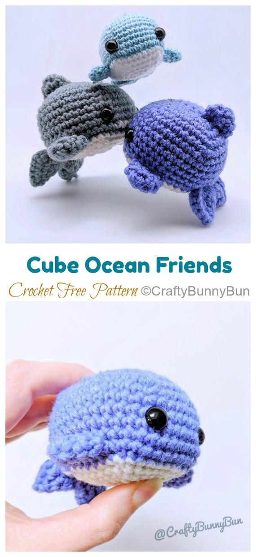 Crochet Cube Ocean Friends Amigurumi Free Pattern - #Amigurumi; Toy #Whale; Crochet Free Patterns