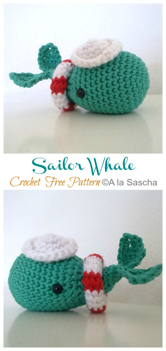 Crochet Sailor Whale Amigurumi Free Pattern - #Amigurumi; Toy #Whale; Crochet Free Patterns