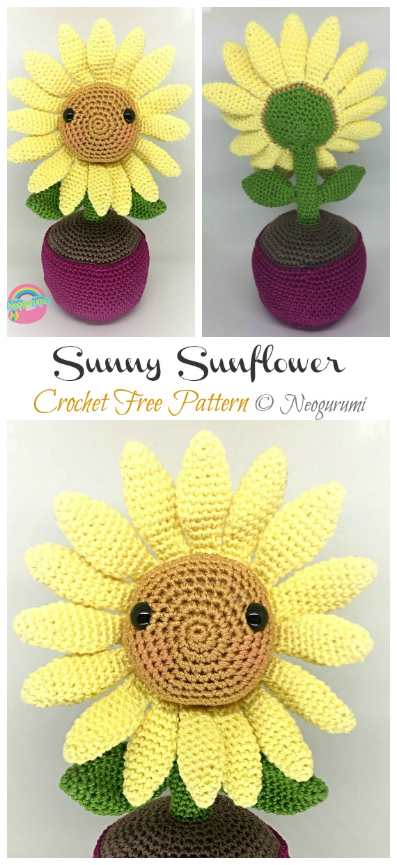 Sunny Sunflower Amigurumi Free Pattern - Amigurumi #Sunflower; #Crochet; Free Patterns
