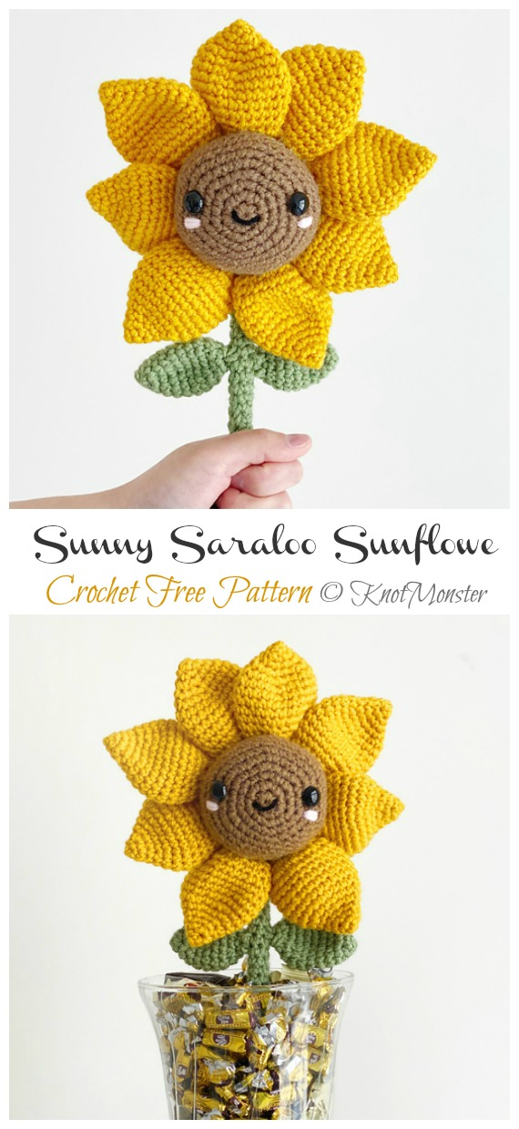 Sun (Sunflower) Crochet Cute Amigurumi Pattern - YouTube | 1240x570