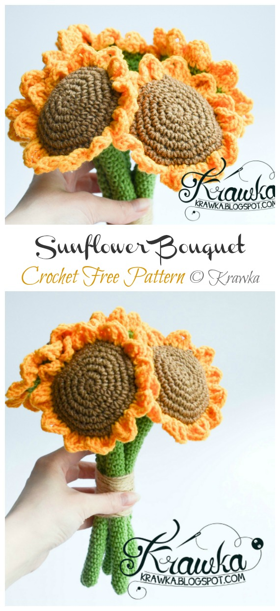 Sunflower Bouquet Amigurumi Free Pattern - Amigurumi #Sunflower; #Crochet; Free Patterns