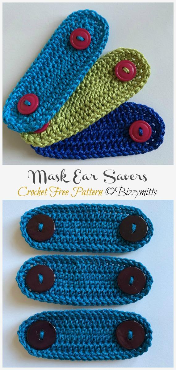 Crochet Mask Ear Saver Free Pattern - Face #Mask; Straps Ear Saver #Crochet; Free Patterns