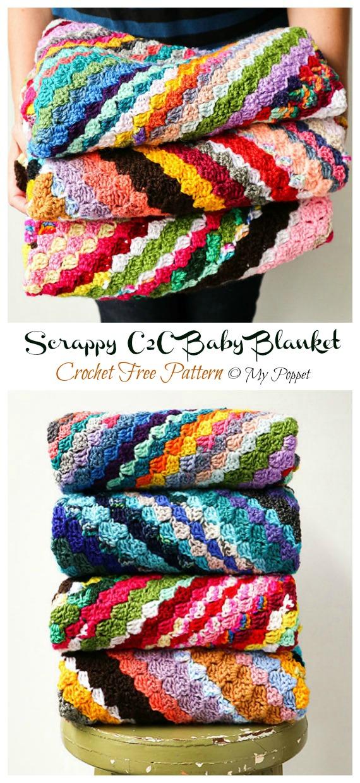 Scrappy C2C Baby Blanket Crochet Free Pattern - Yarn #Buster; #Blanket; Free Crochet Patterns