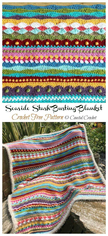 Seaside Stash Busting Blanket Crochet Free Pattern - Yarn #Buster; #Blanket; Free Crochet Patterns