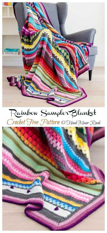Rainbow Sampler Blanket Crochet Free Pattern - Yarn #Buster; #Blanket; Free Crochet Patterns