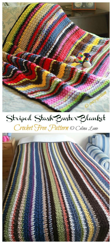 Striped Stash Buster Blanket Crochet Free Pattern - Yarn #Buster; #Blanket; Free Crochet Patterns