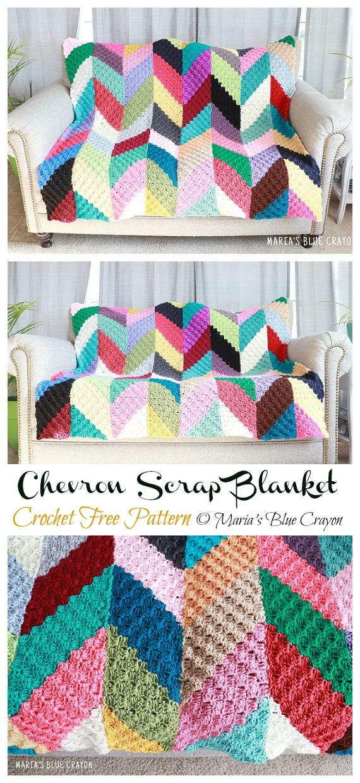 Chevron Scrap Blanket Crochet Free Pattern - Yarn #Buster; #Blanket; Free Crochet Patterns