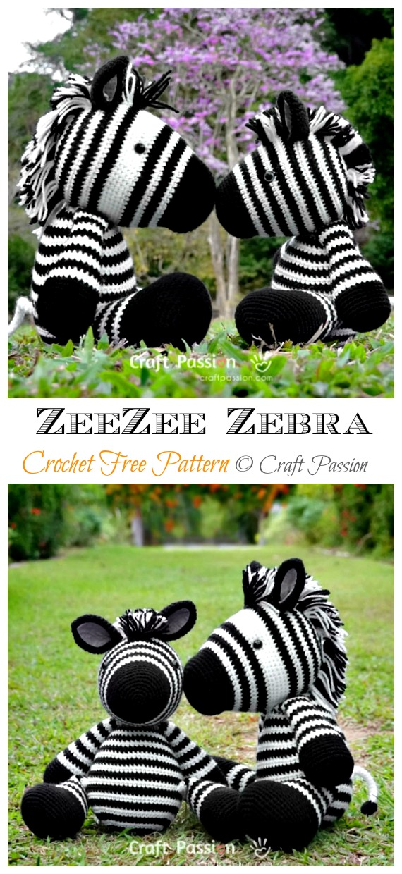 Crochet ZeeZee the Zebra Amigurumi Free Pattern - #Amigurumi; #Zebra; Crochet Free Patterns