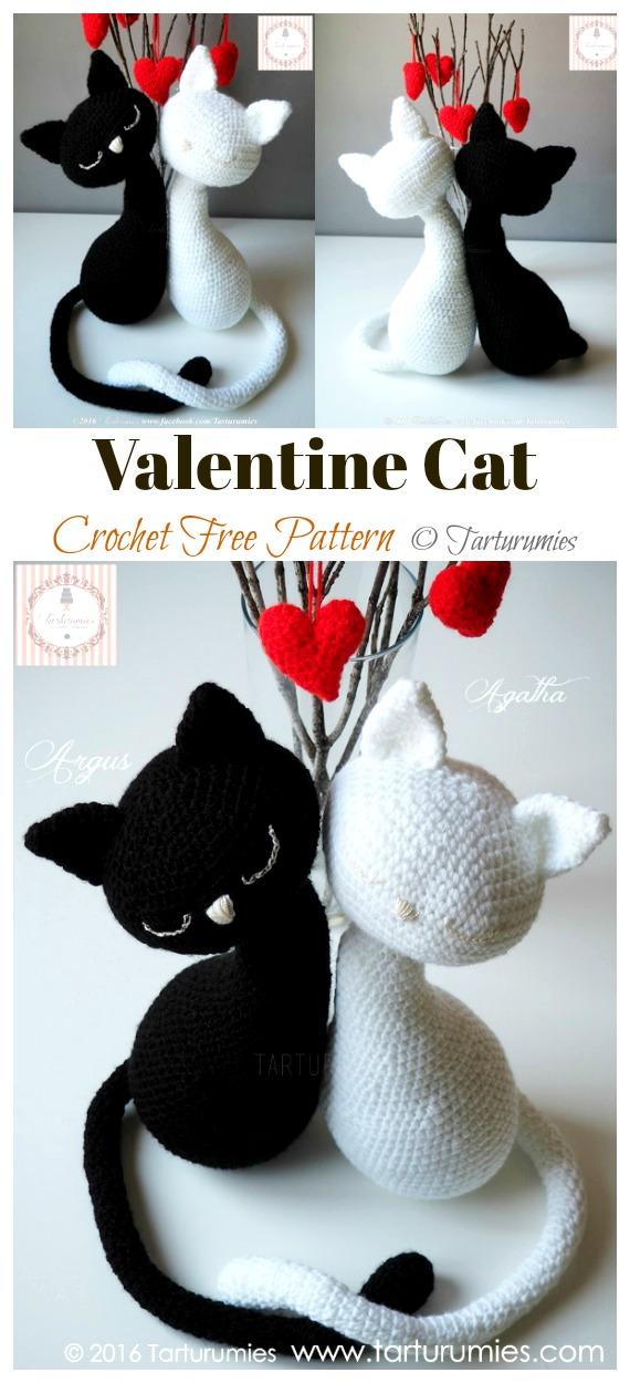 Crochet Valentine Cat Amigurumi Free Pattern - #Amigurumi; #Cat; Crochet Free Patterns