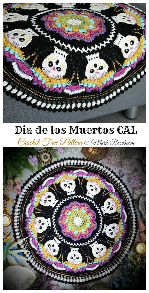 Dia de los Muertos CAL Free Crochet Pattern - #Halloween; Doily Crochet Free Patterns
