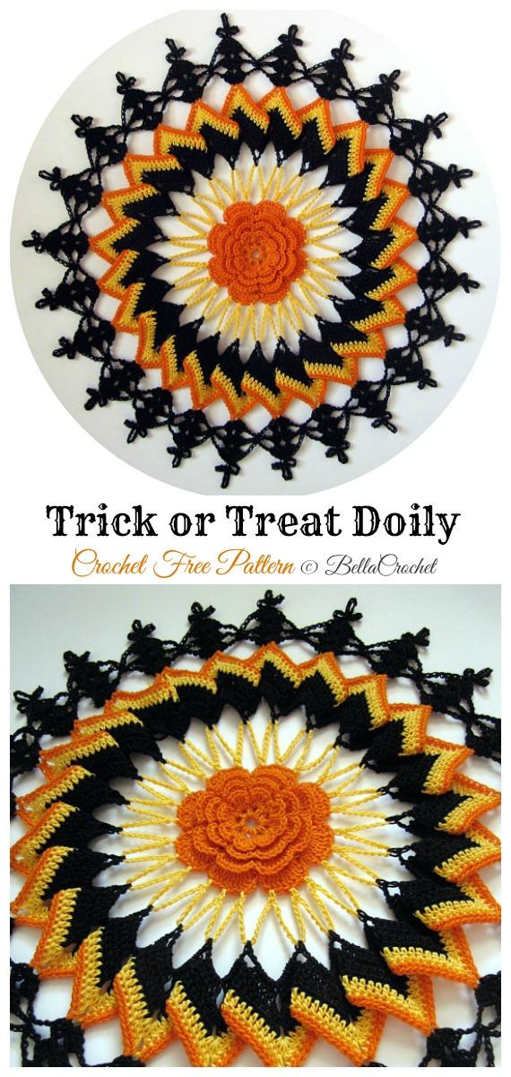 Trick or Treat Doily Free Crochet Pattern - #Halloween; Doily Crochet Free Patterns