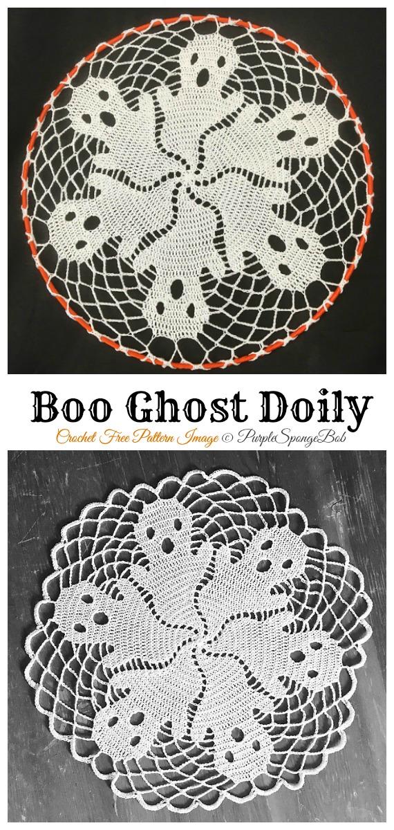 Boo! Doily Free Crochet Pattern - #Halloween; Doily Crochet Free Patterns