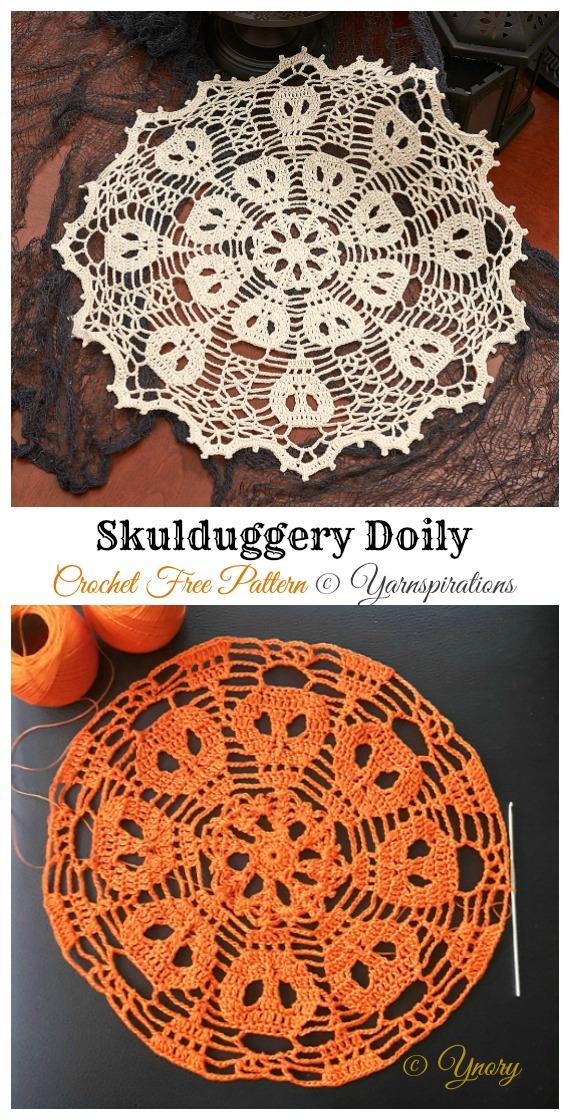 Skulduggery Doily Free Crochet Pattern - #Halloween; Doily Crochet Free Patterns
