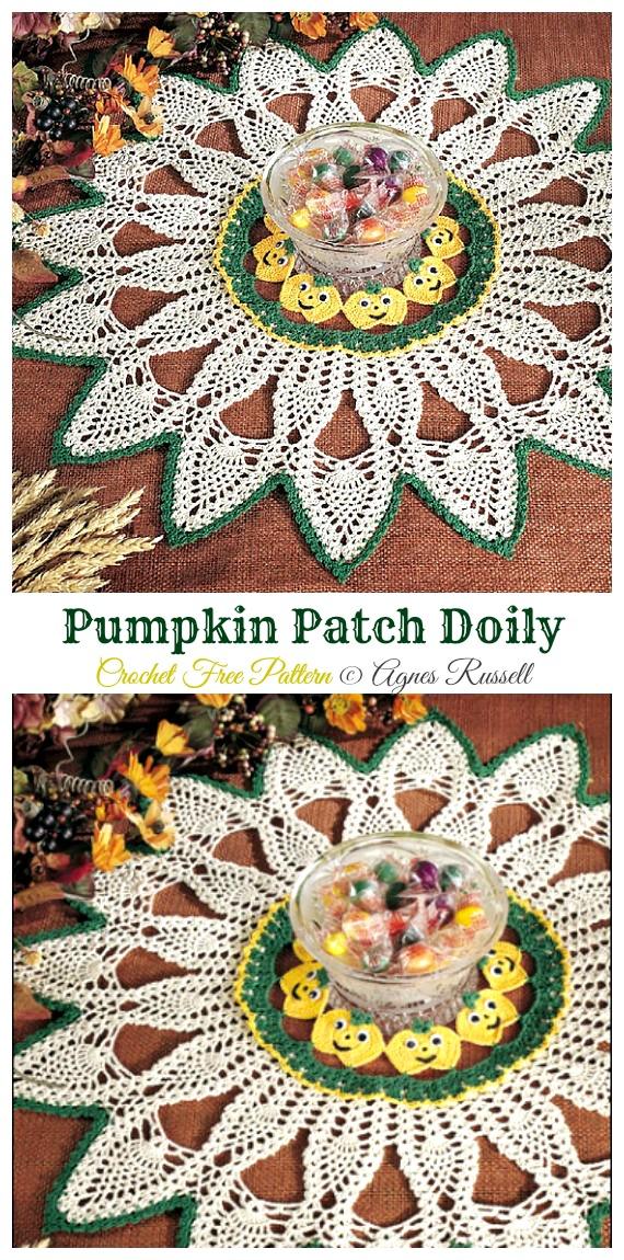 Pumpkin Patch Doily Free Crochet Pattern - #Halloween; Doily Crochet Free Patterns