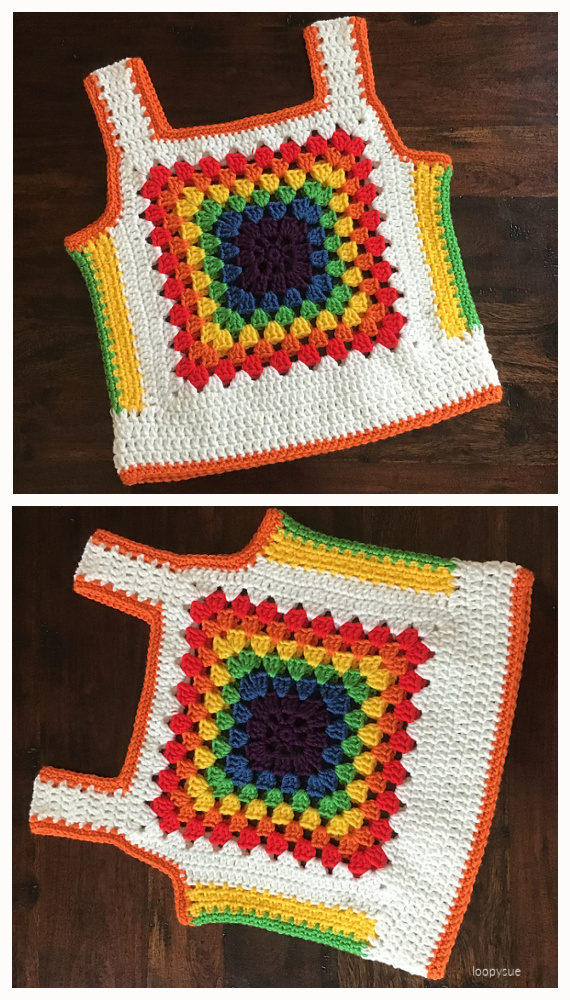 Rainbow ribtickler Top Free Crochet Pattern - #Granny; Squares Summer #Top; Crochet Free Patterns