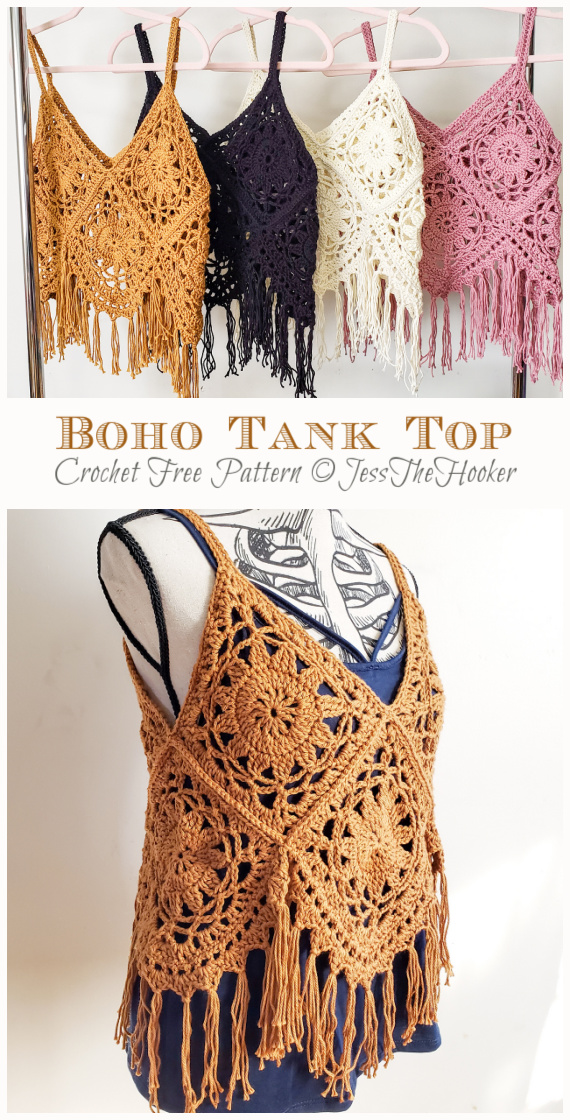 Boho Tank Top Free Crochet Pattern - #Granny; Squares Summer #Top; Crochet Free Patterns
