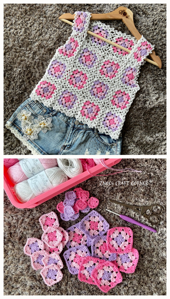 Granny Squares Summer Top Free Crochet Pattern - #Granny; Squares Summer #Top; Crochet Free Patterns