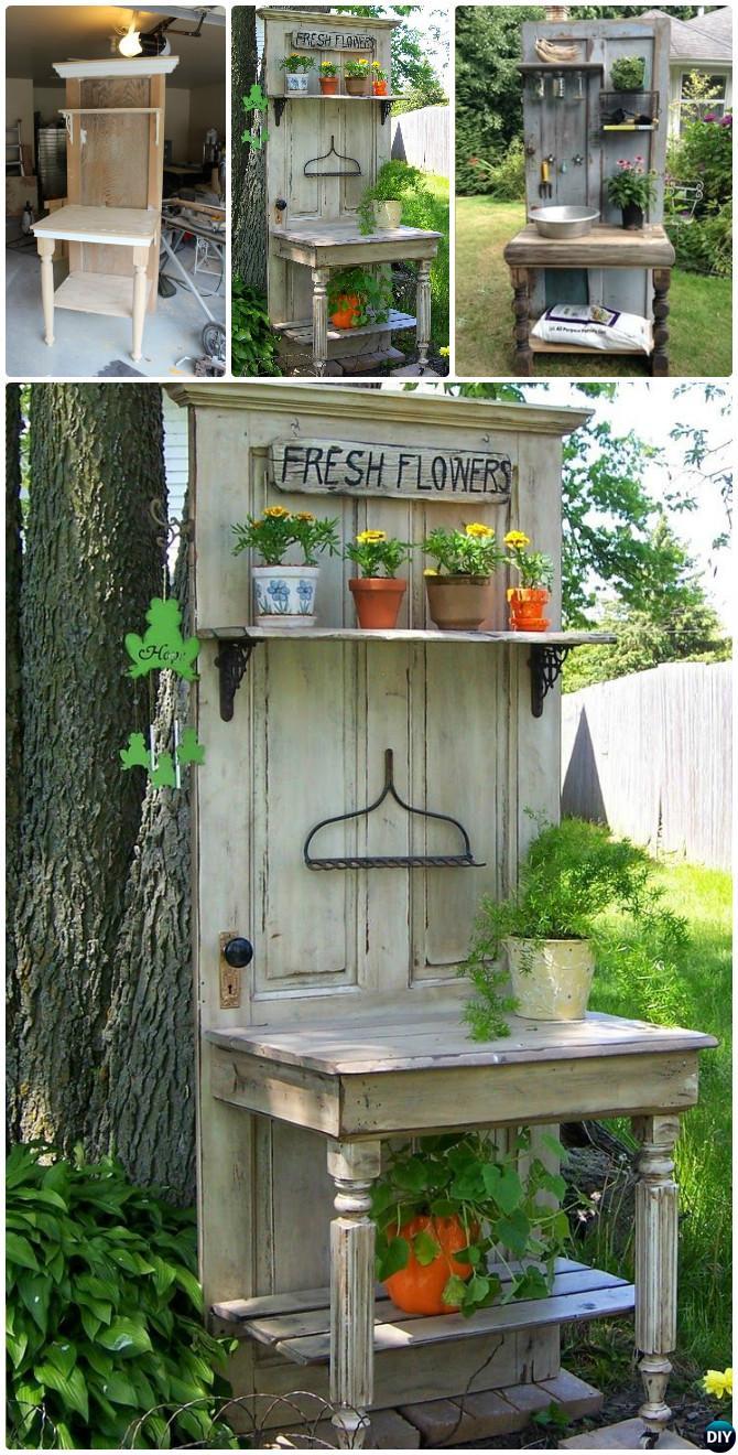 Diy Garden Door Potting Bench Repurpose Old Into Instruction