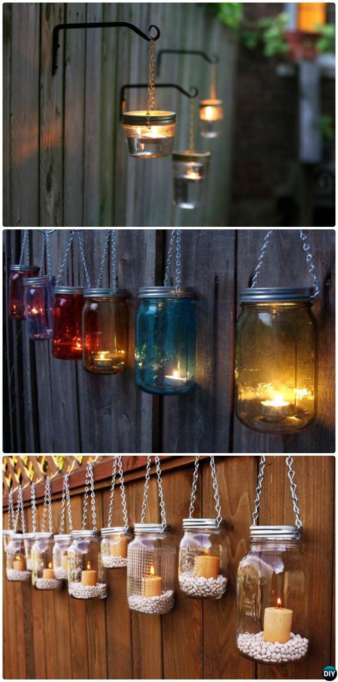 Diy Hanging Mason Jar Lights Garden