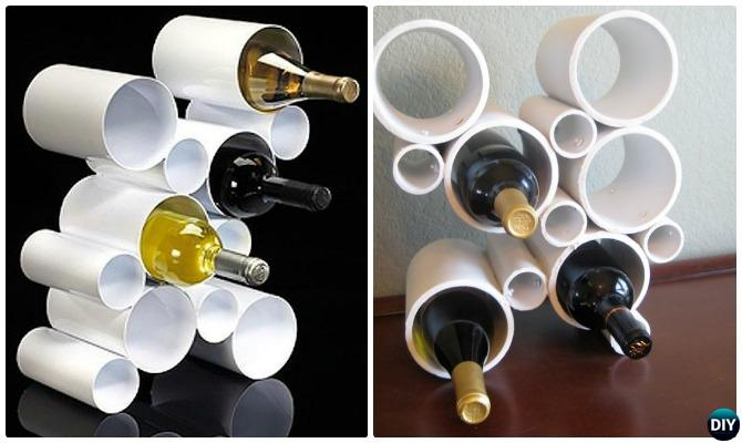 DIY PVC Pipe Wine Rack-20 PVC Home Organization and Storage Projects