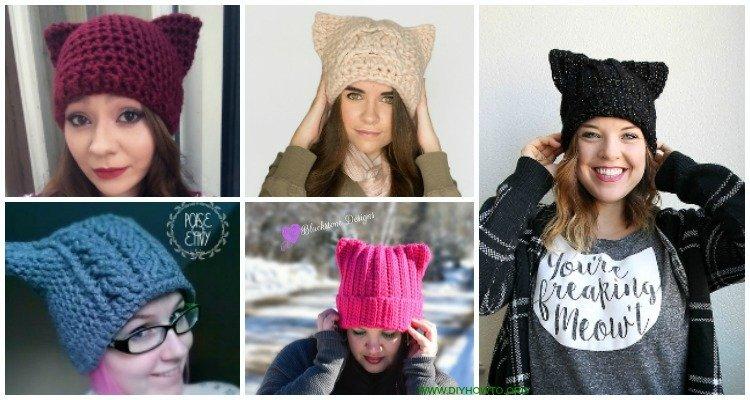 Crochet Kitty Cat Hat Pattern - Folksy | 400x750