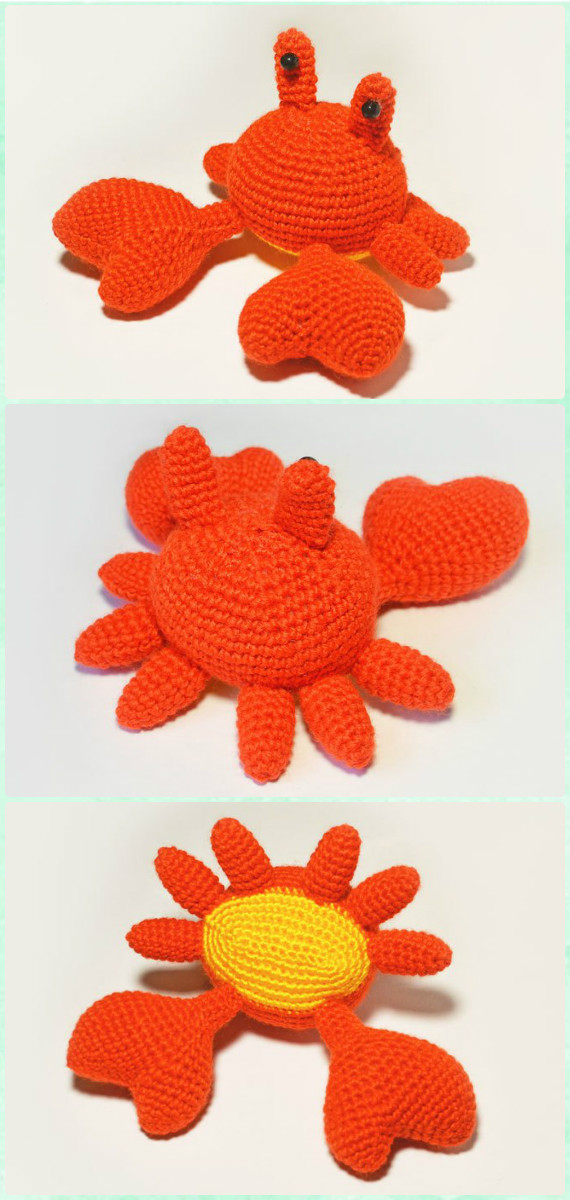 Crab amigurumi free pattern (With images) | Crochet toys patterns ... | 1200x570
