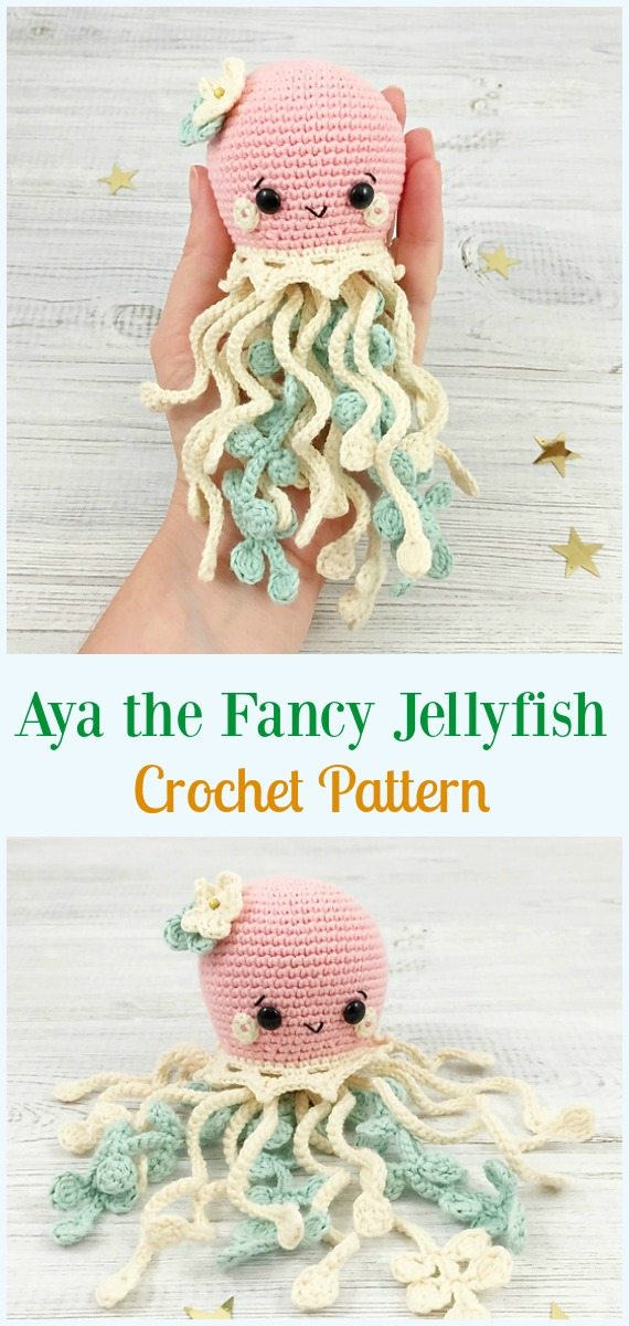 Happy Jellyfish Amigurumi Keychain Free Crochet Pattern | Mobile ... | 1200x570