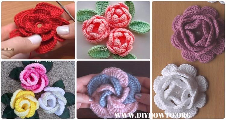 Crochet 3d Rose Flowers Free Patterns Amp Tutorials