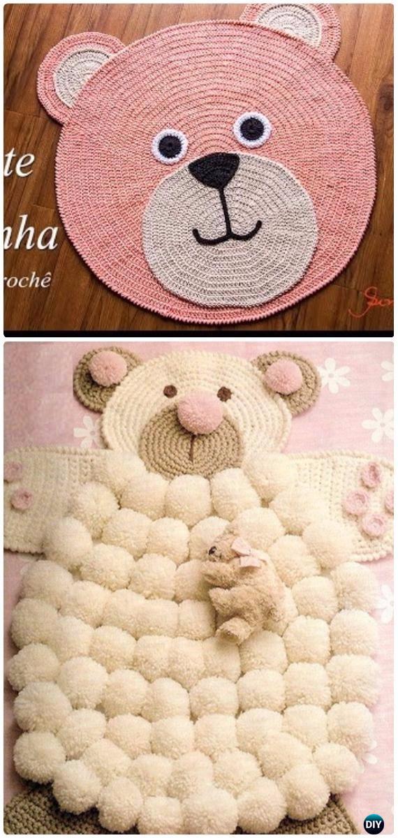 Crochet Pom Pom Teddy Bear Rug Free Pattern [Video] - Crochet Area Rug Ideas Free Patterns