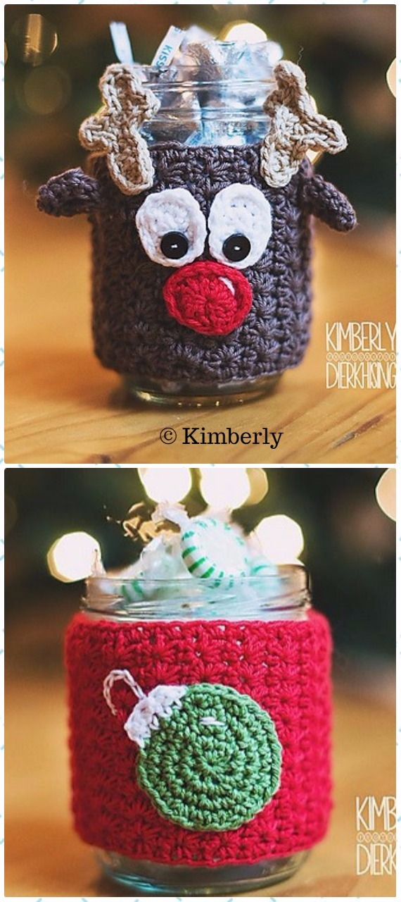 Crochet Reindeer Mason Jar Christmas Cozies Paid Pattern Crochet Christmas Mason Jar Cozy Patterns Diy How To