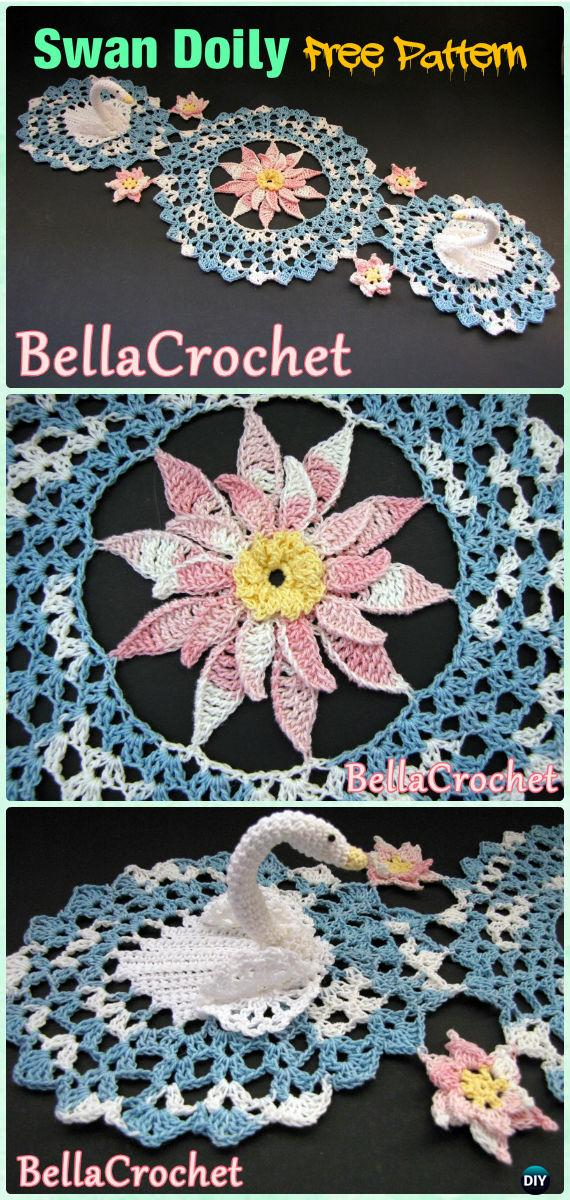 Crochet Serene Swans Doily Free Pattern - Crochet Doily Free Patterns