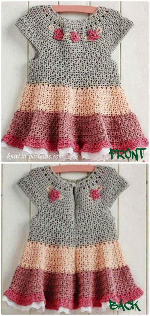 Crochet Tiered dress FreePattern -  - #Crochet Girls #Dress Free Patternset Girls Dress Free Patterns