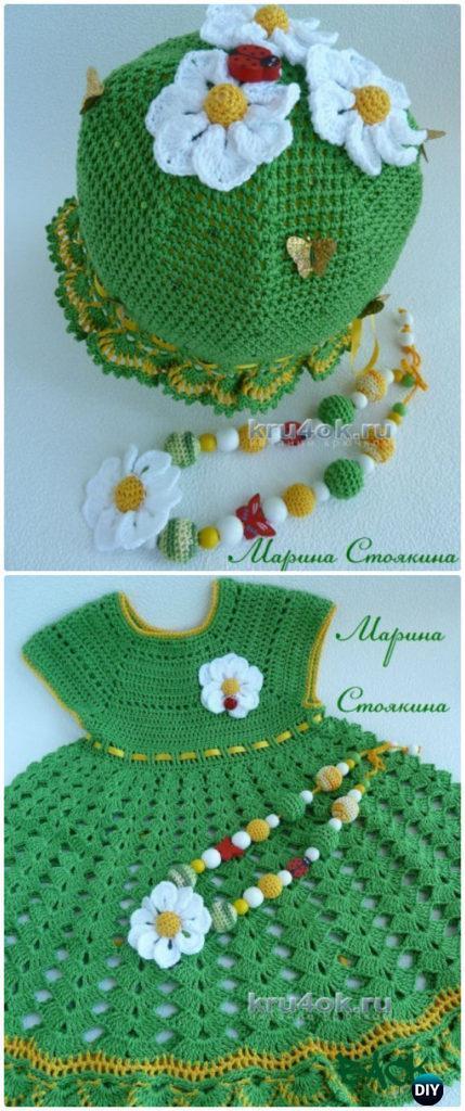 Crochet Lush Flower dress Free Diagram- #Crochet Girls #Dress Free Patternset Girls Dress Free Patterns